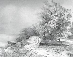 Alexei Kondratyevich Savrasov - Old oak near abrupt coast of river