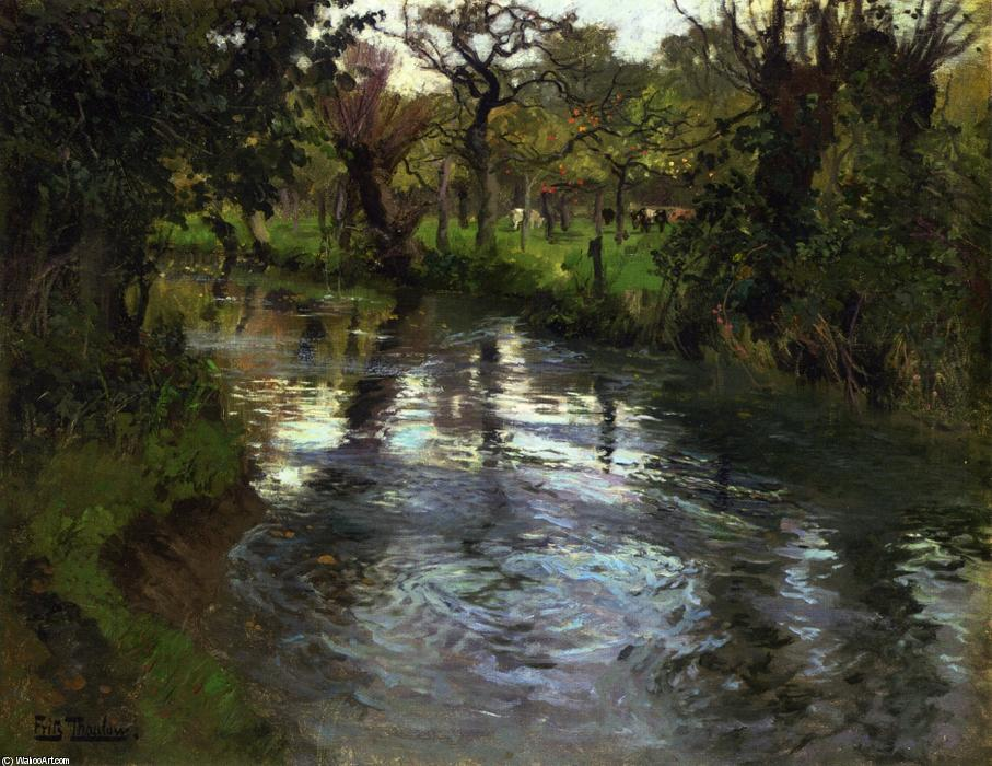 On the Banks by Frits Thaulow (1847-1906, Norway) | Museum Quality Reproductions | WahooArt.com