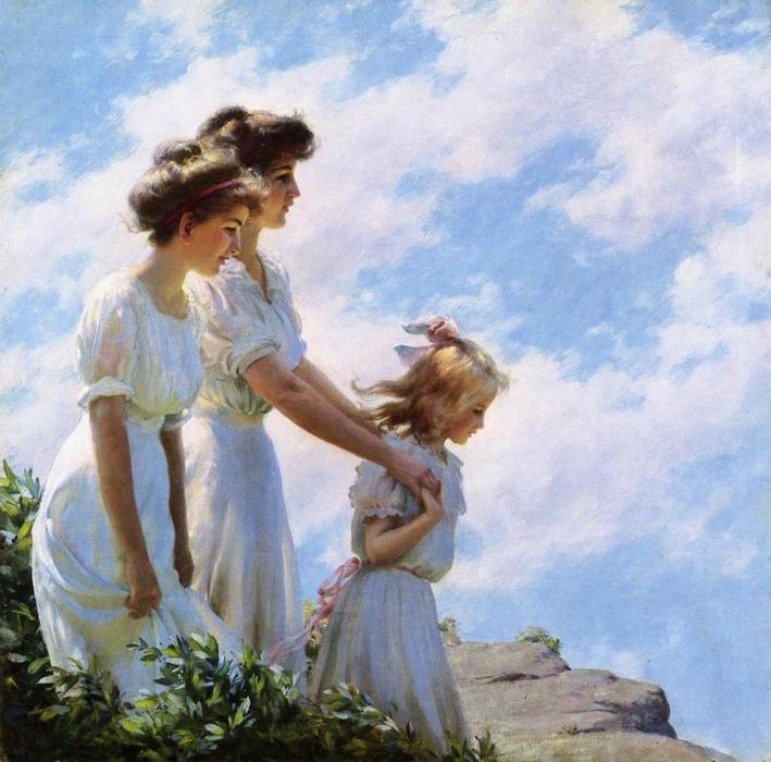 On the Cliff, 1910 by Charles Courtney Curran (1861-1942, United States) | Art Reproduction | WahooArt.com