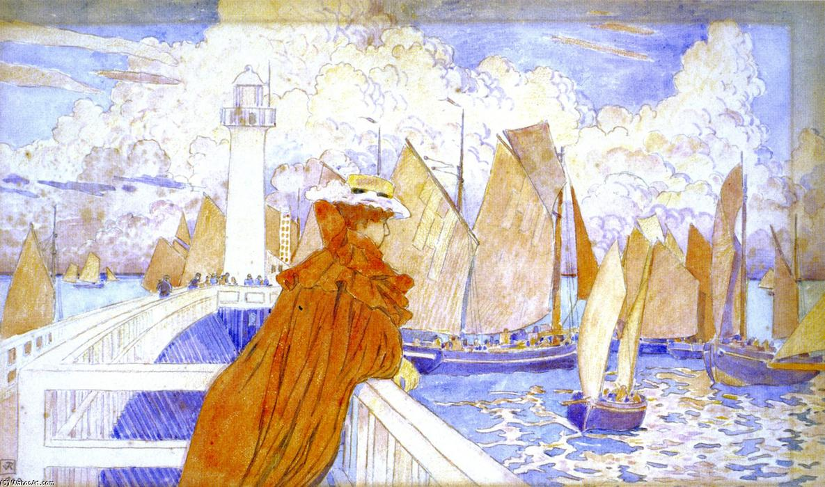 On the Jetty, 1898 by Theo Van Rysselberghe (1862-1926, Belgium) | Oil Painting | WahooArt.com