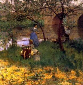 John Lavery - On the Loing, An Afternoon Chat