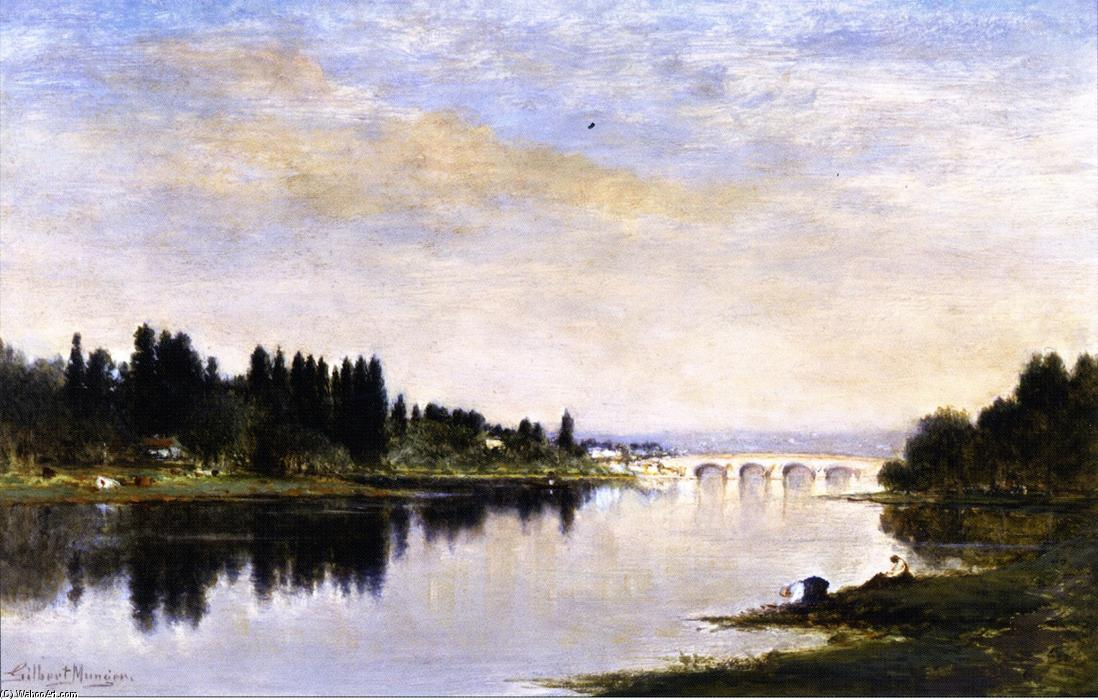 On the River near Bougival, France by Gilbert Munger (1837-1903, United States) | Famous Paintings Reproductions | WahooArt.com