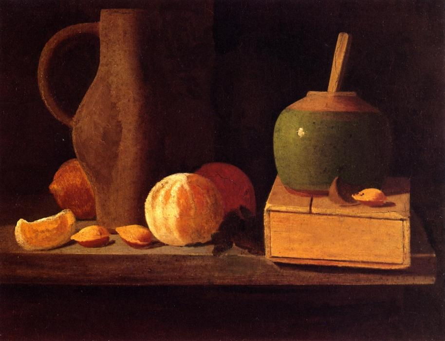 Order Art Reproduction : Oranges, Lemons, Nuts, Pitcher and Honey Pot, 1890 by John Frederick Peto (1854-1907, United States) | WahooArt.com