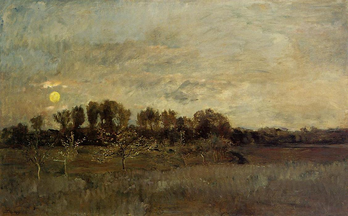 The Orchard at Sunset, Oil On Canvas by Charles François Daubigny (1817-1878, France)