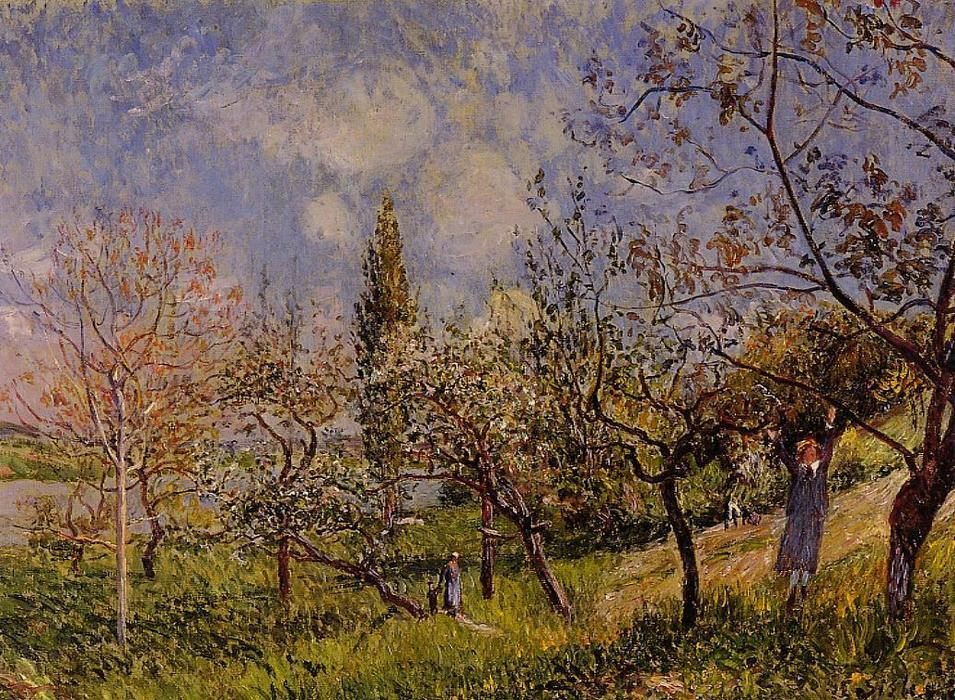 Orchard in Spring - By, Oil On Canvas by Alfred Sisley (1839-1899, France)
