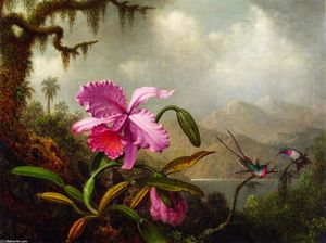 Martin Johnson Heade - Orchids and Hummingbirds near a Mountain Lake