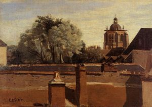 Jean Baptiste Camille Corot - Orleans - View from a Window Overlooking the Saint-Peterne Tower