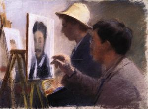Peder Severin Kroyer - Oscar Björck and Eilif Peterssen Painting Portraits of Georg Brandes
