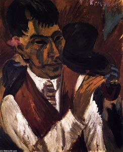 Ernst Ludwig Kirchner - Otto Mueller with Pipe