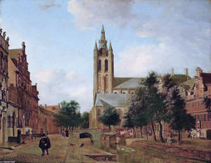 Jan Van Der Heyden - The Oude Kerk on the Oude Delft
