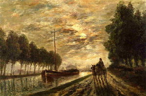 Stanislas Lepine - The Ourcq Canal, Towpath, Moonlight