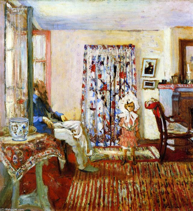 The Painter K.-X. Roussel and His Daughter Annette, Oil On Panel by Jean Edouard Vuillard (1868-1940, France)