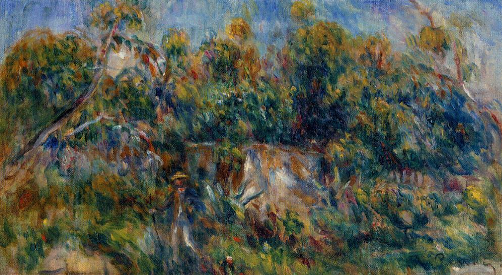 Order Reproductions | The Painter Taking a Stroll at Cagnes by Pierre-Auguste Renoir (1841-1919, France) | WahooArt.com