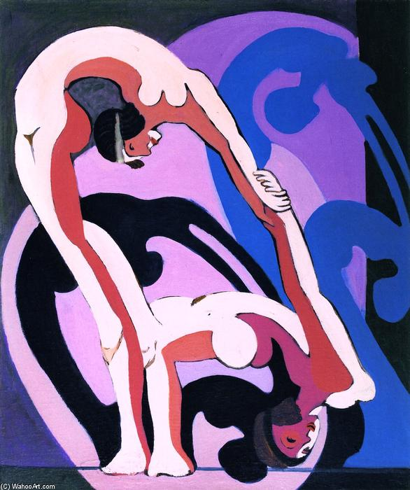 Pair of Acrobats, Sculpture, Oil On Canvas by Ernst Ludwig Kirchner (1880-1938, Germany)