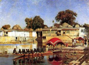 Edwin Lord Weeks - Palace and Lake at Sarket-Ahmedabad, India