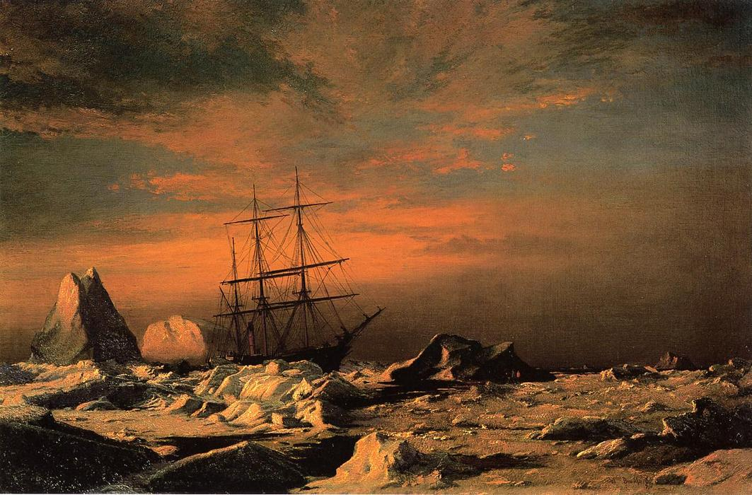 The `Panther` among the Icebergs in Melville Bay, 1874 by William Bradford (1590-1657, United Kingdom) | Museum Quality Reproductions | WahooArt.com