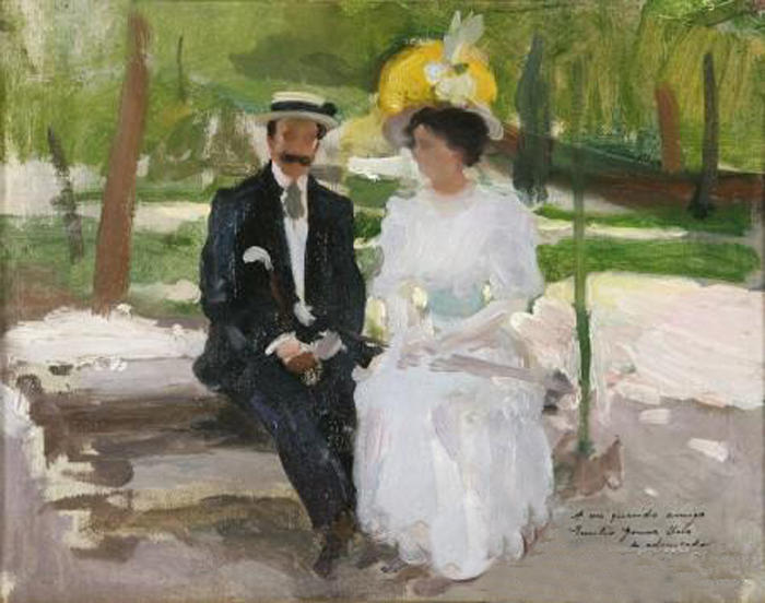 Pareja en el parque, Oil On Canvas by Cecilio Pla Y Gallardo (1860-1934, Spain)