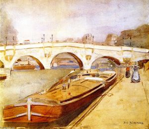Frederick Carl Frieseke - Paris, Pont Neuf with Barges