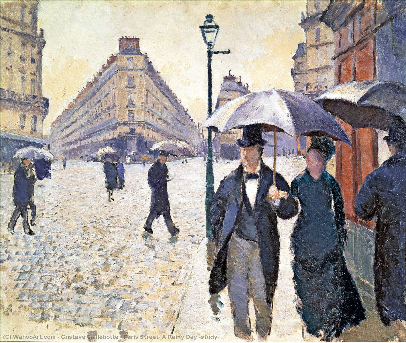 Paris Street: A Rainy Day (study), Oil On Canvas by Gustave Caillebotte (1848-1894, France)