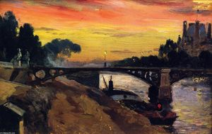 Mathias Joseph Alten - Paris, View of the Seine, Night