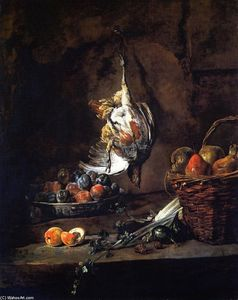 Jean-Baptiste Simeon Chardin - Partridge, Bowl of Plums and Basket of Pears