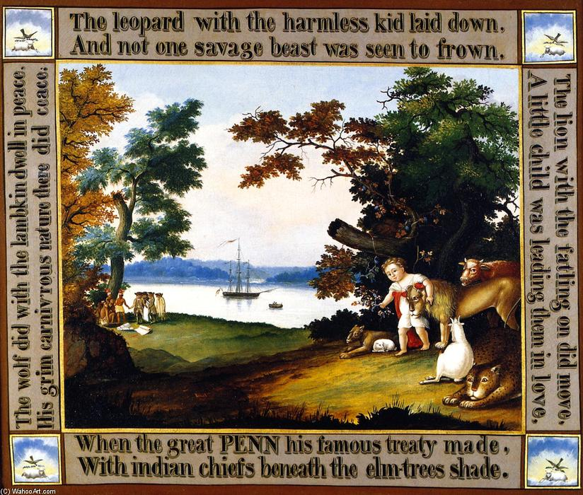 Peaceable Kingdom (14), 1826 by Edward Hicks (1780-1849, United States) | Art Reproductions Edward Hicks | WahooArt.com