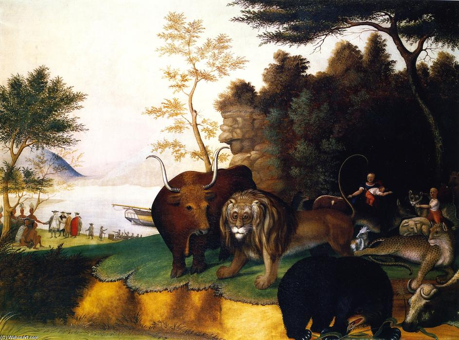 Order Reproductions | Peaceable Kingdom (17), 1847 by Edward Hicks (1780-1849, United States) | WahooArt.com