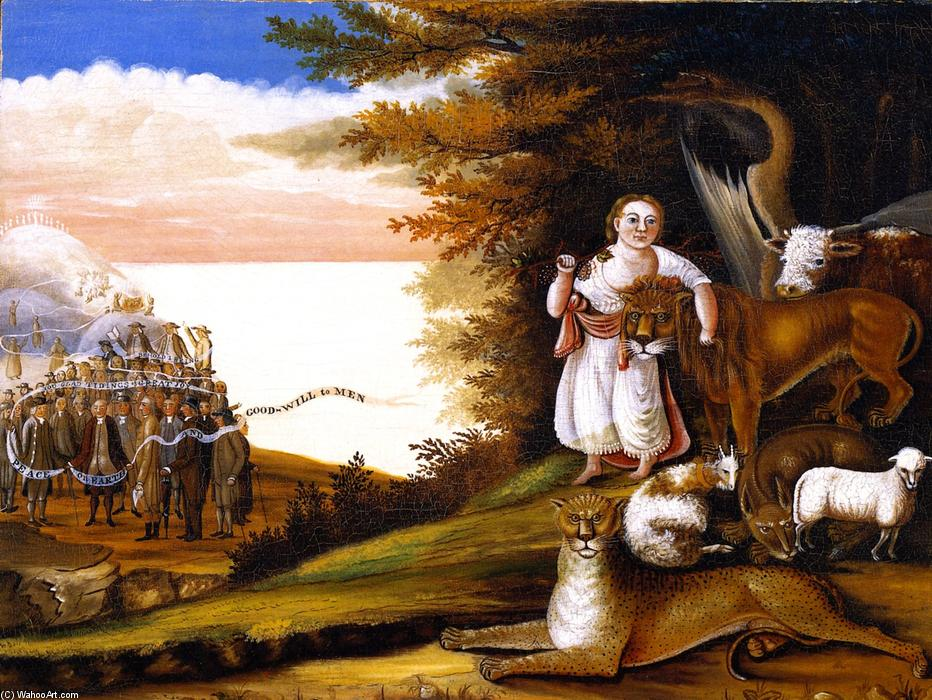 Order Paintings Reproductions | Peaceable Kingdom (20), 1829 by Edward Hicks (1780-1849, United States) | WahooArt.com