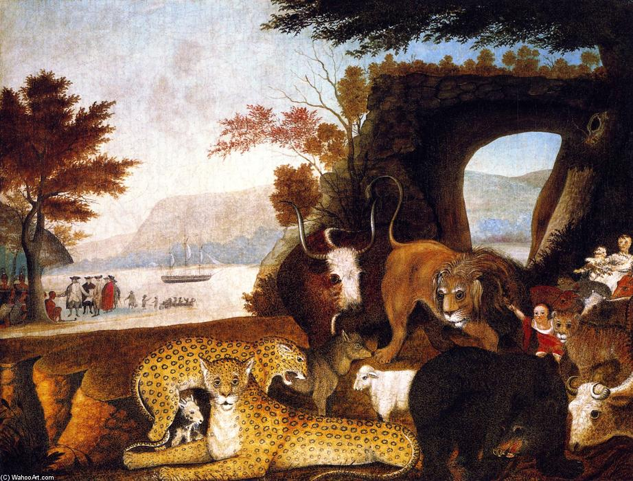 Order Reproductions | Peaceable Kingdom (25), 1847 by Edward Hicks (1780-1849, United States) | WahooArt.com