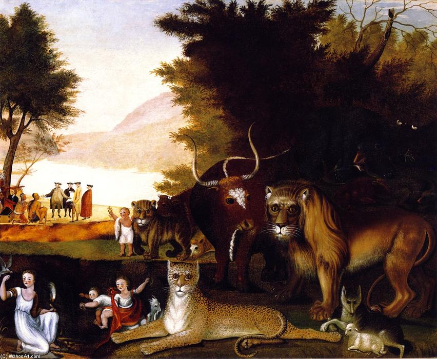 Order Paintings Reproductions | Peaceable Kingdom (27), 1837 by Edward Hicks (1780-1849, United States) | WahooArt.com