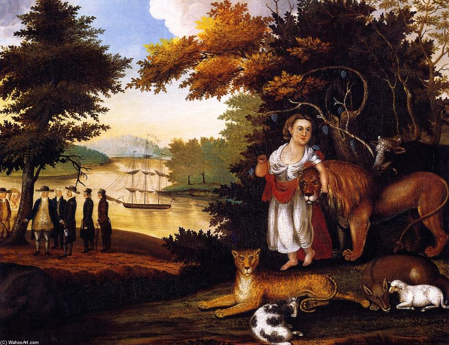 Peaceable Kingdom (32), 1827 by Edward Hicks (1780-1849, United States) | Paintings Reproductions Edward Hicks | WahooArt.com