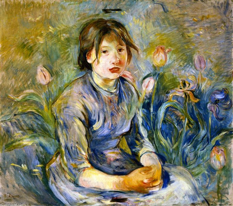 Peasant Girl among Tulips, 1890 by Berthe Morisot (1841-1895, France) | Painting Copy | WahooArt.com