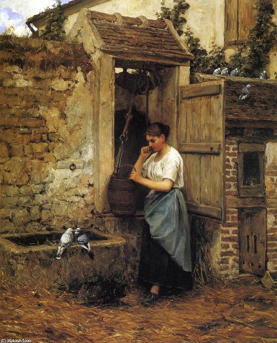 Peasant Girl and Doves, 1880 by Henry Mosler (1841-1920, Poland) | Oil Painting | WahooArt.com