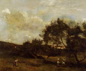 Jean Baptiste Camille Corot - Peasants near a Village