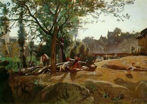 Jean Baptiste Camille Corot - Peasants under the Trees at Dawn, Morvan