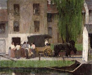 Robert Spencer - The Peddler's Cart on the Canal, New Hope