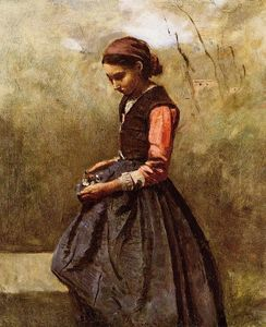 Jean Baptiste Camille Corot - Pensive Young Woman