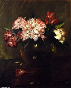William Merritt Chase - Peonies and Irises