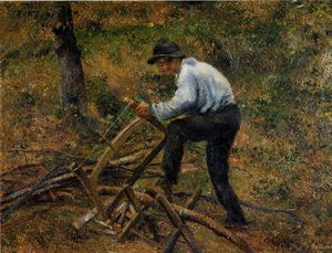 Camille Pissarro - Pere Melon Sawing Wood