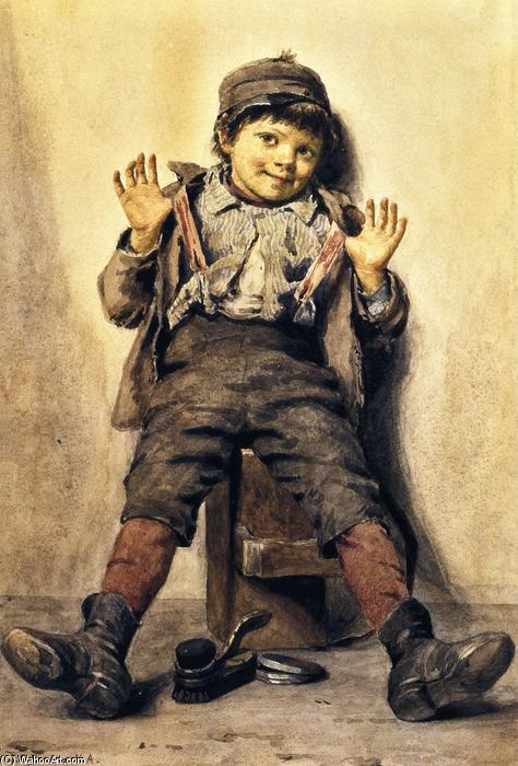 Perfectly Happy, Watercolour by John George Brown (1831-1913, United Kingdom)