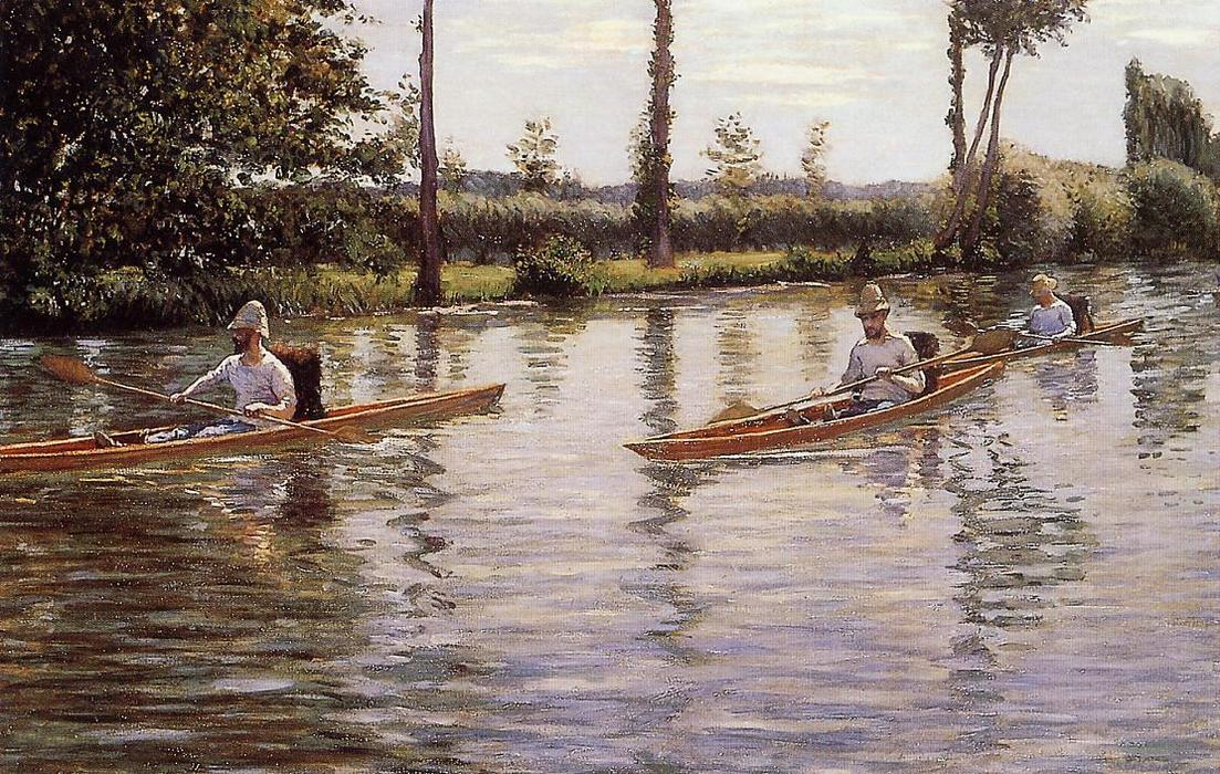Perissoires sur l'Yerres (also known as Boating on the Yerres), 1877 by Gustave Caillebotte (1848-1894, France) | WahooArt.com