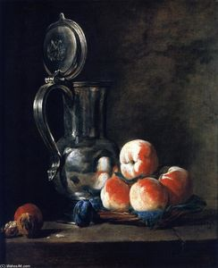 Jean-Baptiste Simeon Chardin - Pewter Jug with Basket of Peaches, Plums and Walnuts