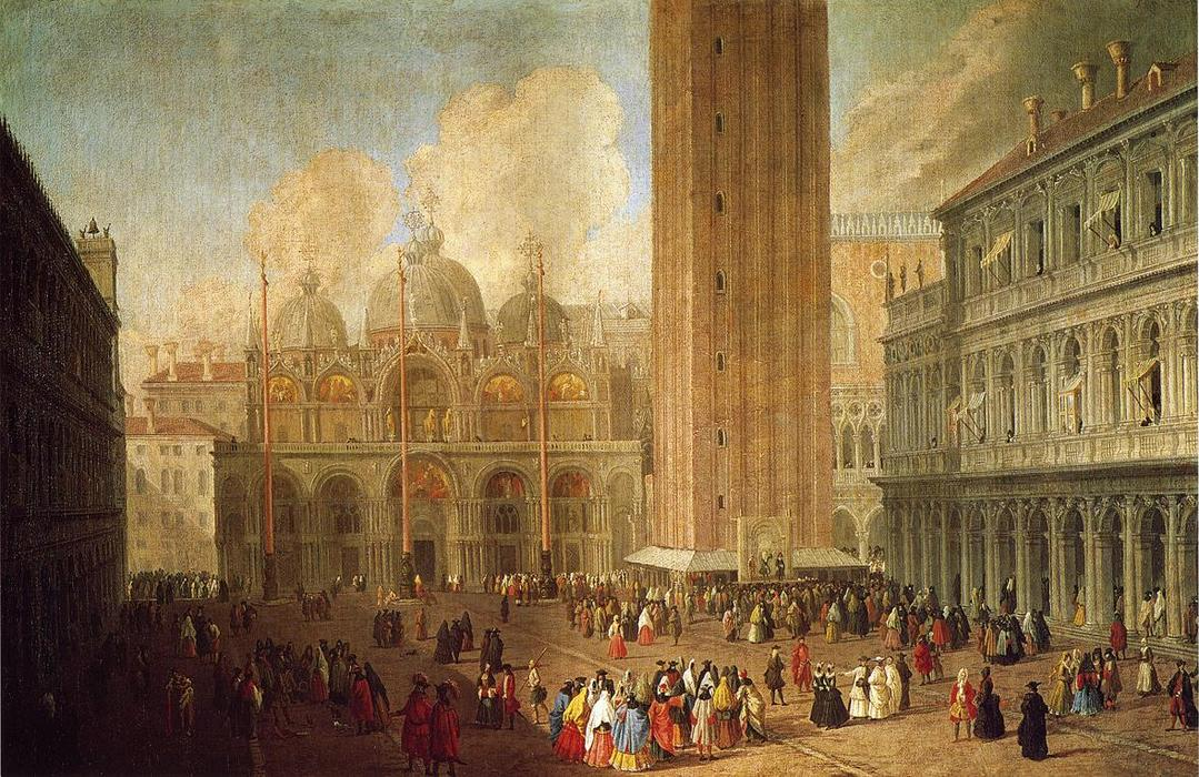 Piazza San Marco, Looking East, 1722 by Luca Carlevaris (1663-1730, Italy) | Art Reproduction | WahooArt.com