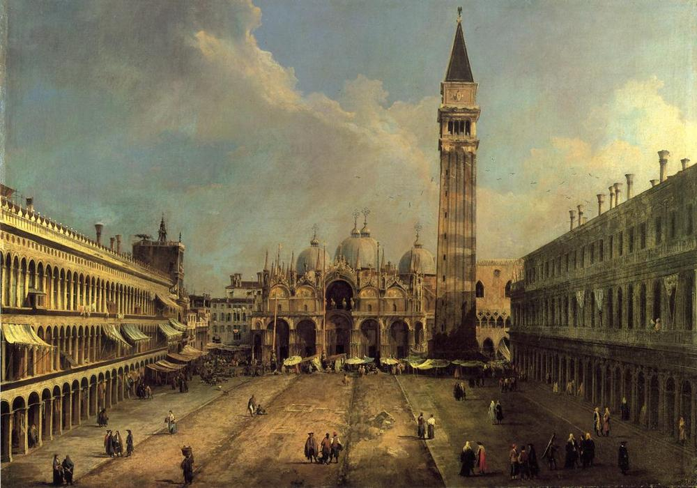 San Marco: Looking East along the Central Line, Oil On Canvas by ...