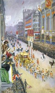 John Lavery - Piccadilly, London, 12 May 1937