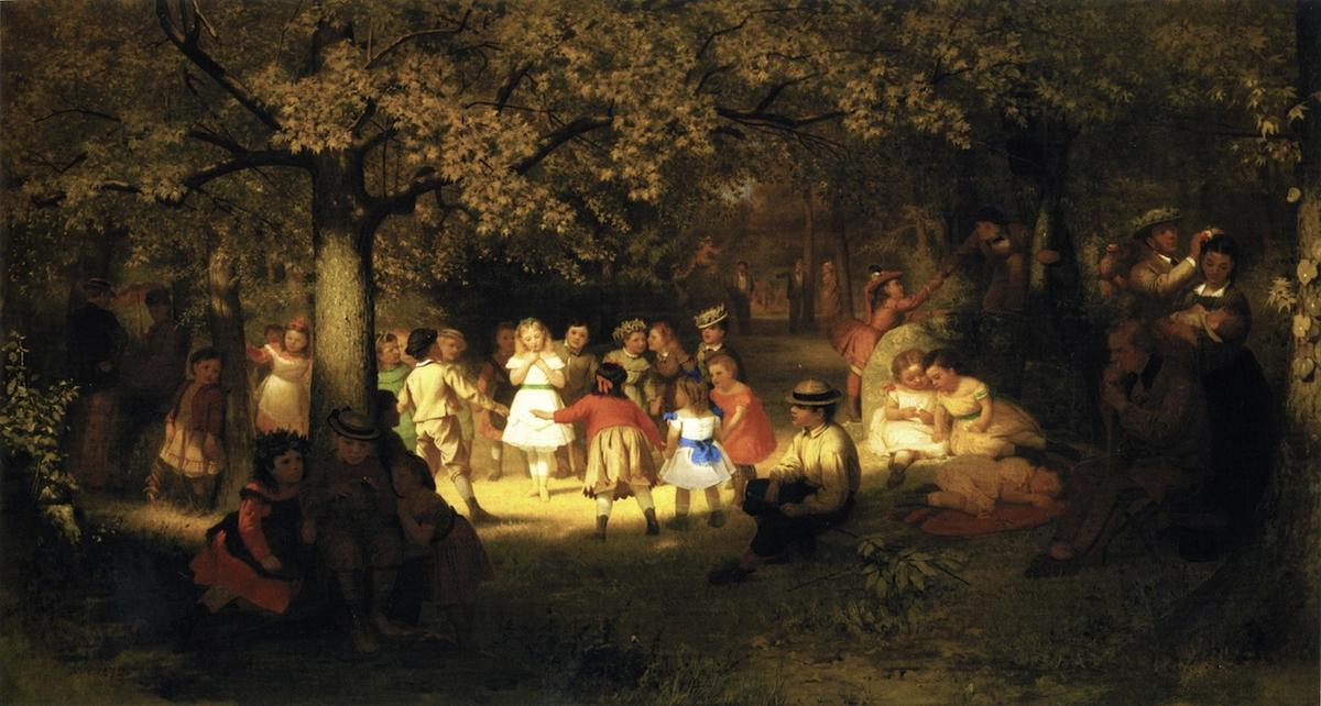 Picnic Party in the Woods, Oil On Canvas by John George Brown (1831-1913, United Kingdom)