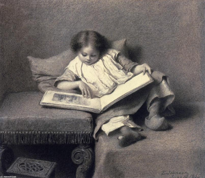 The Picture Book, 1855 by Jonathan Eastman Johnson (1824-1906, United Kingdom) | Oil Painting | WahooArt.com