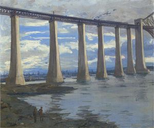 John Lavery - The Piers Forth bridge, kite balloon and grand fleet in distance