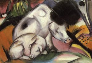 Franz Marc - Pigs (also known as Sow with Piglet)