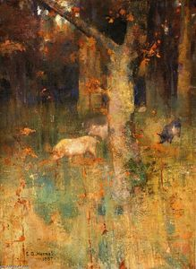 Edward Atkinson Hornel - Pigs in a Wood